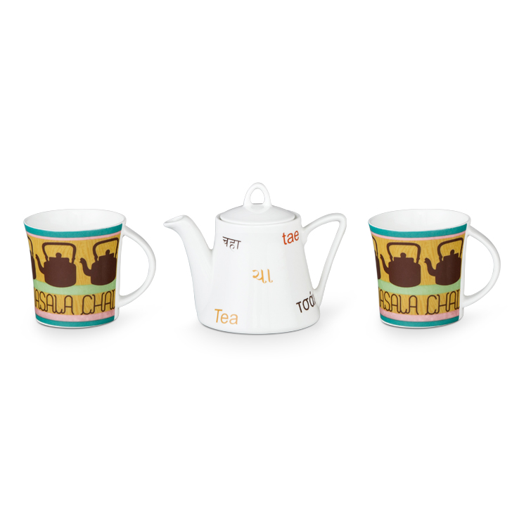 Living Essence ClayCraft Cutting Chai Kettle With 2 Mugs,Tableware