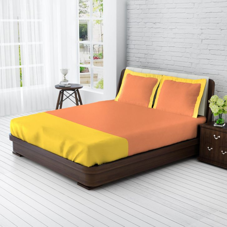 King Bedsheet Peach & Sweet Lime Yellow,King Size Bed Sheets