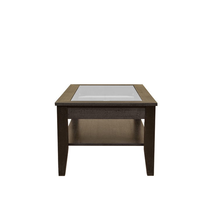 Abby Glass Top Veneer Centre Table in Dark Brown Colour,Coffee Tables