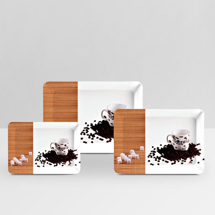 Servewell Coffee Delite Stylo Tray 3 Pcs,Trays