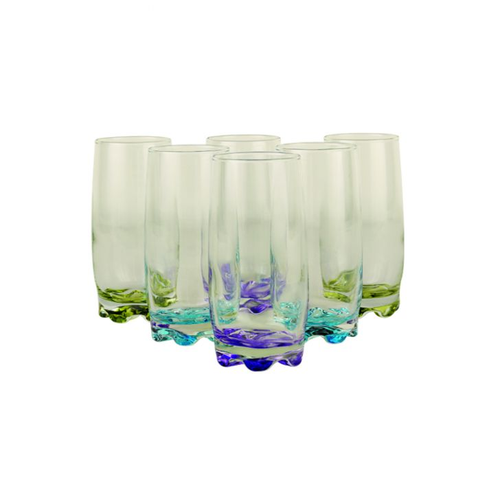 Hues Water Tumblers Set Of 6,Glasses & Tumblers