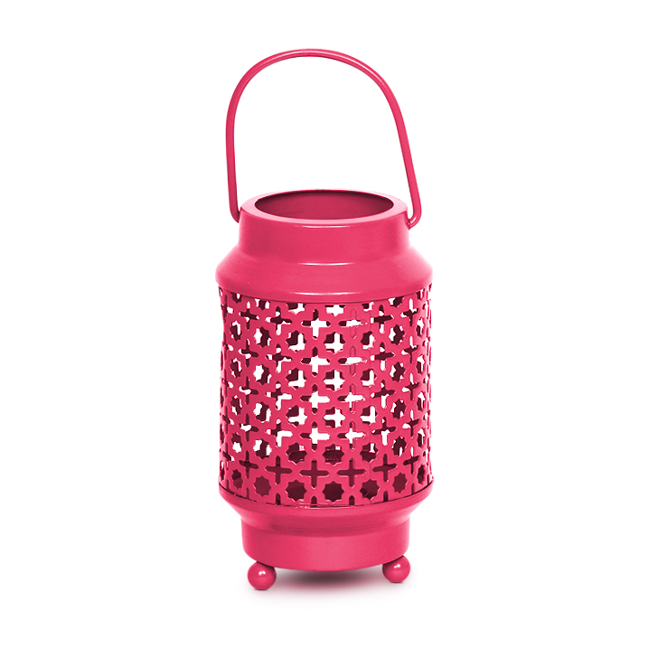 HomeTown Allure Iron Lantern Pink,Candle Holders
