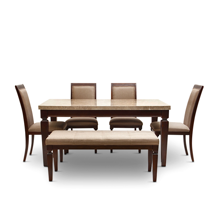 Buy Bliss Six Seater Dining Set With Bench Beige And Brown Online