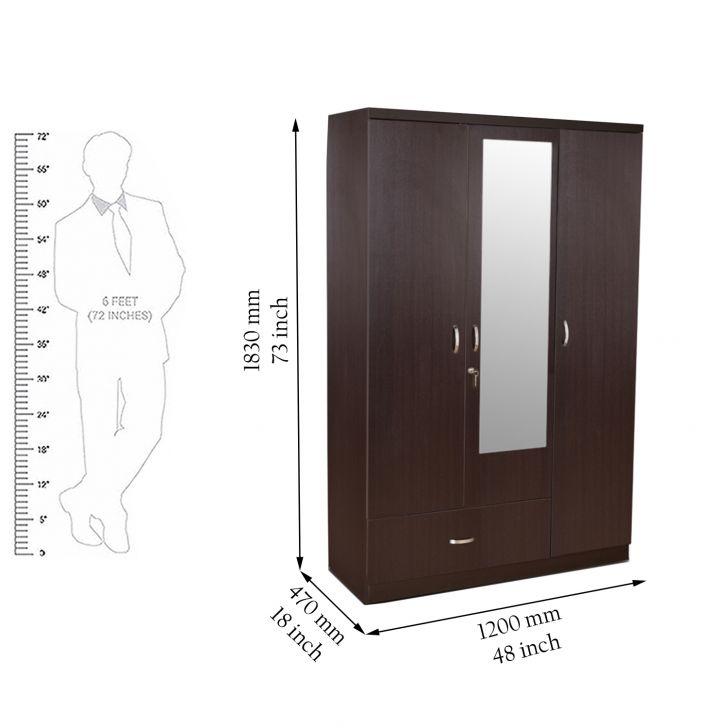 Utsav Three Door Wardrobe With Mirror in Wenge Finish,All Wardrobes