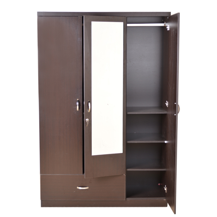 Buy Utsav Three Door Wardrobe With Mirror Wenge Online In