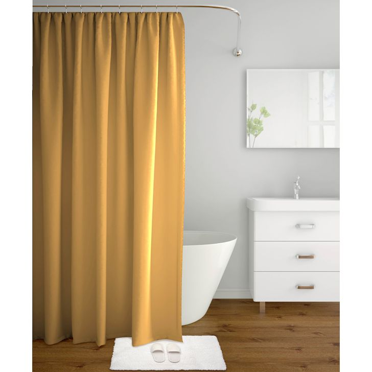 Tangerine Polyester Shower Curtain With Hooks Beige,Bath Linen