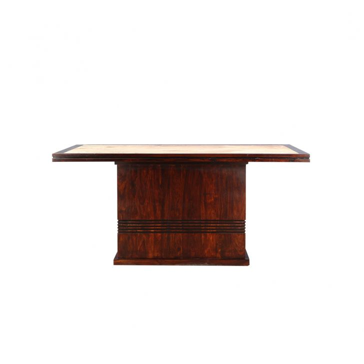 Cleo Solidwood Marble Top 6 Seater Table,6 Seater Dining Table