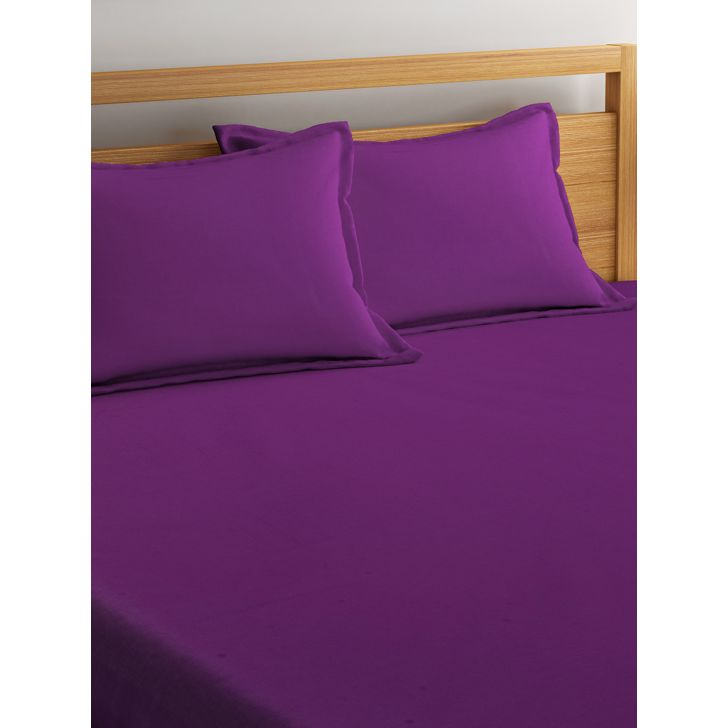 Portico Percale Bedsheet Aubergine,Double Bed Sheets
