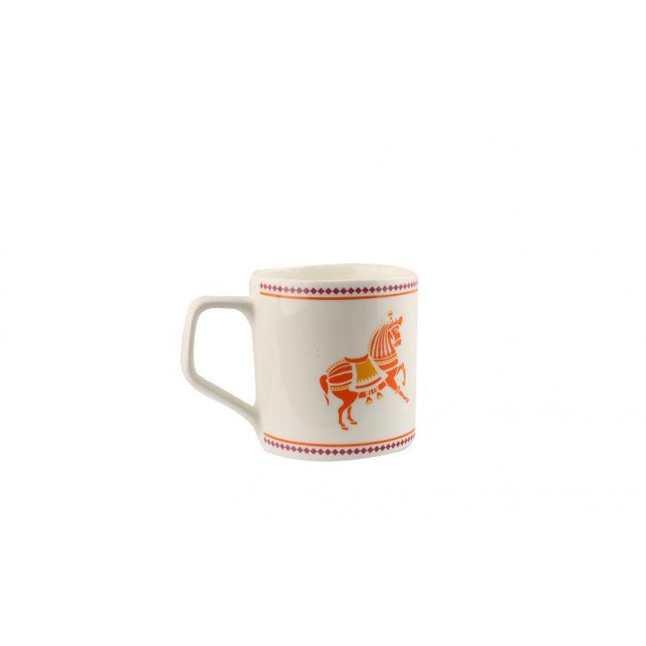 Horse Lattice Set Of 6 Tea Mugs,Cups & Saucers