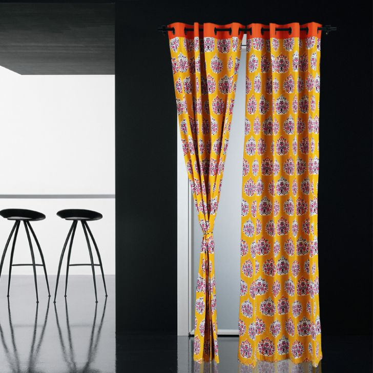 Living Essence Window Curtain Rio Gulmarg Mango,Curtains