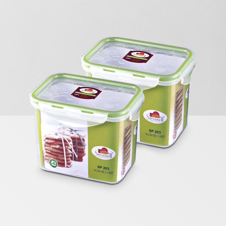 Servewell Food Fresh Rectangular Container 1 Ltr 2 Pcs,Lock Storage