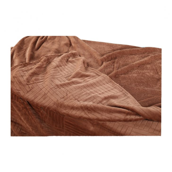 Fleece Blanket 240X220 Checks Mocha,Quilts/Blankets