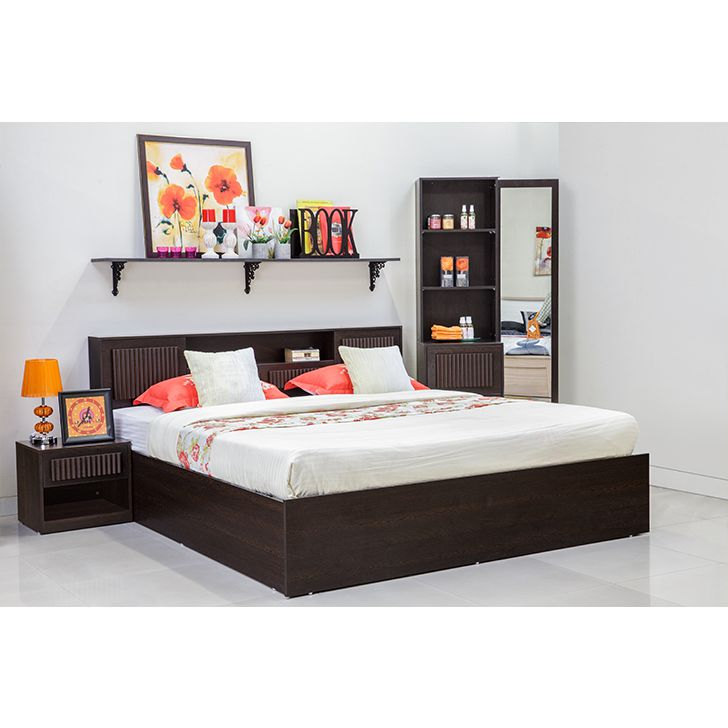 Bedroom Furniture Designs Pictures In India Grey Bedroom Colour Combination Bedroom Design With Tiles Bedroom Interior For Boys: Buy Tiagosuper Queen Size Bed With Storage In Wenge Finish
