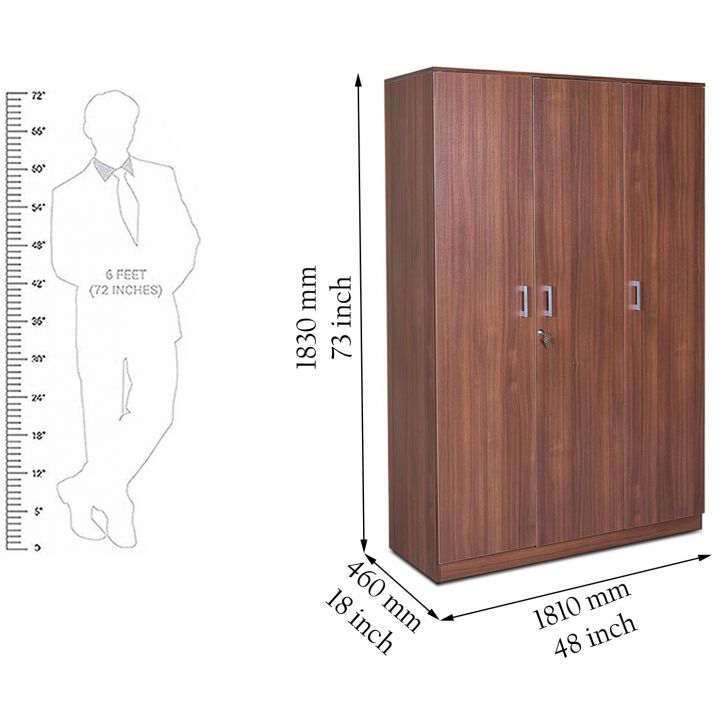 Wilson Three Door Wardrobe Regato Walnut,3 Door Wardrobes