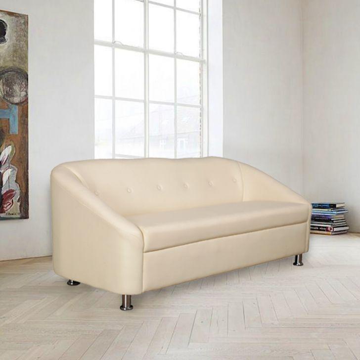 Belfast Leatherette Three Seater Sofa Ivory,Furniture