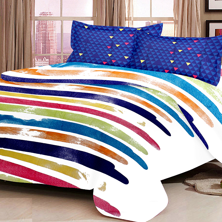 Eden Contemporary Cotton Bed In A Bag Blue,Double Bed Sheets