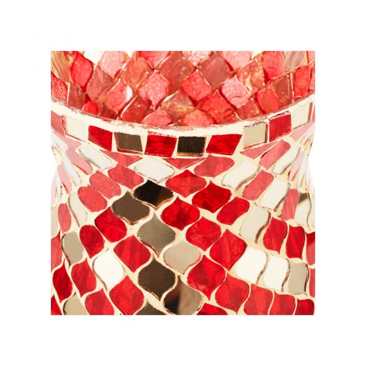 Ahana Mosaic Hurricane Candle Holder Small Red,Candle Holders