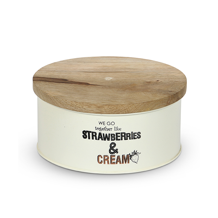 Living Essence Tin Body with Wooden Lid Cake Box Beige,Containers