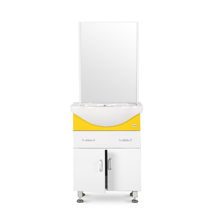 Flona PVC And Ceramic Vanity White And Yellow,PVC Vanity