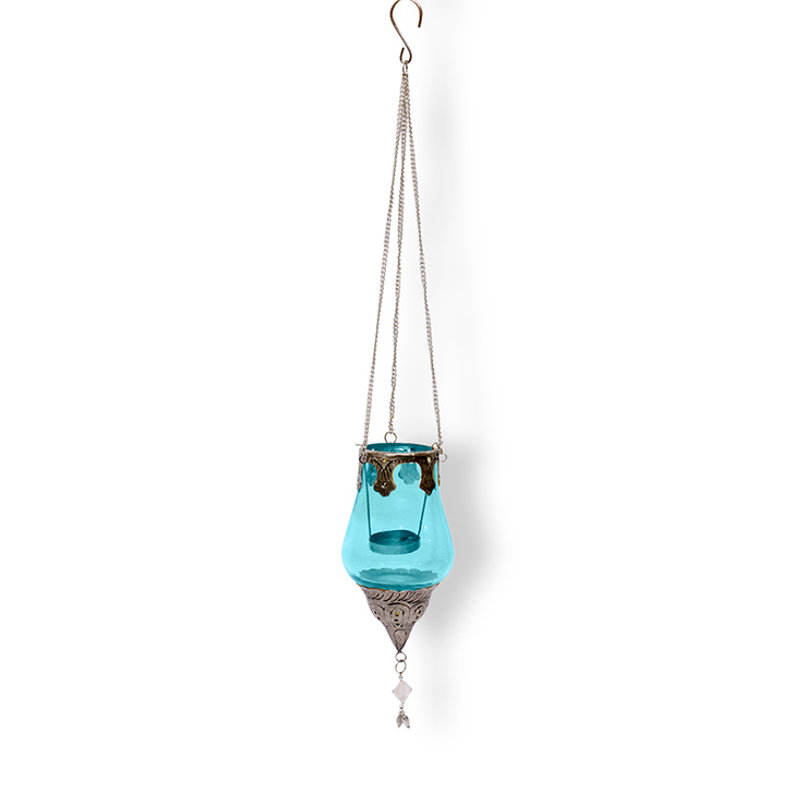 Hometown Ariel Drop Glass And Metal Hanging Lantern Blue And Silver,Lamps & Lighting