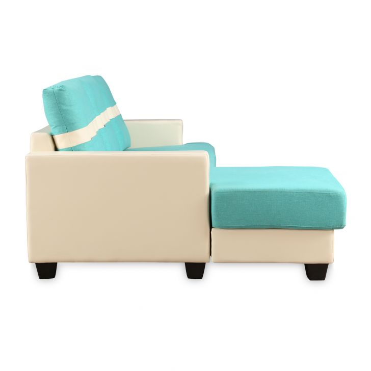 Berni Fab LHS Sectional Sofa in Teal & Beige Colour,Sofas & Sectionals