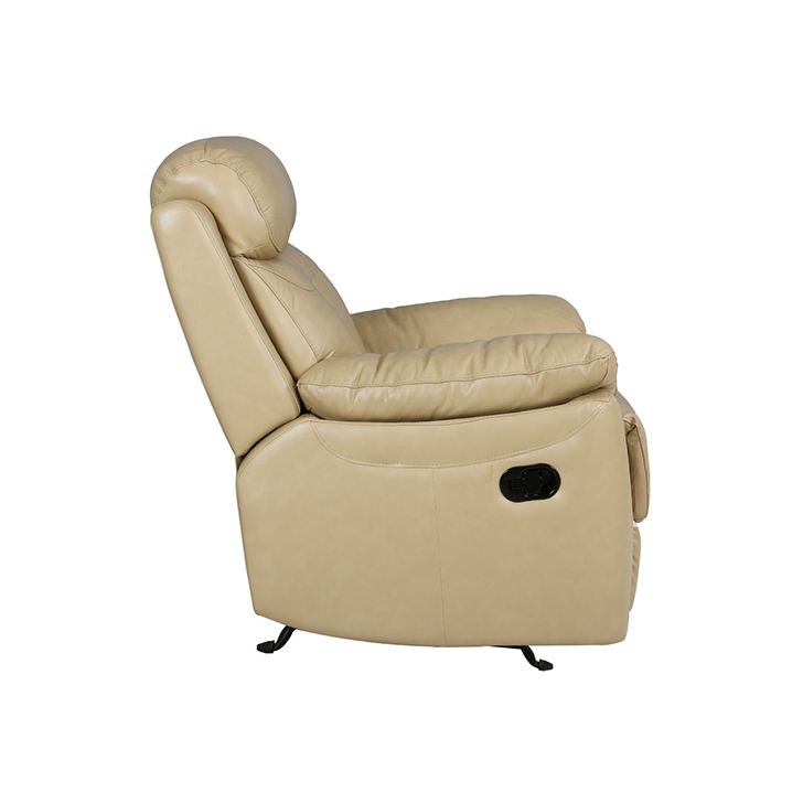 Manhattan Leather One Seater Recliner in Beige Colour,Living Room Furniture
