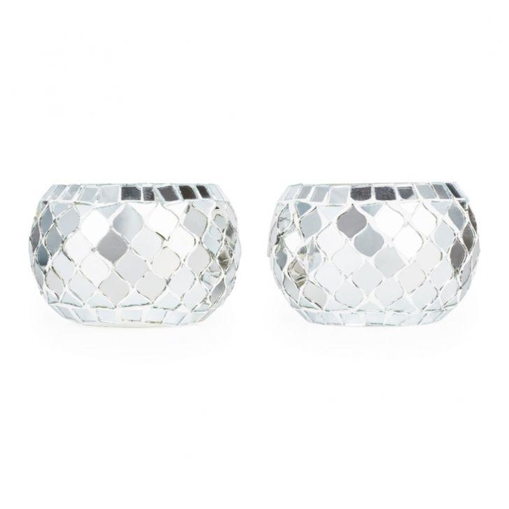Ahana Mosaic Bowl Silver,Candle Holders