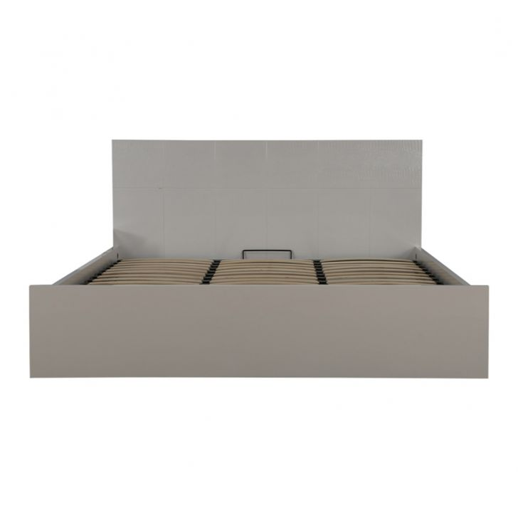 Fidora High Gloss King Bed with Hydraulic Storage in White Finish,Hydraulic Beds