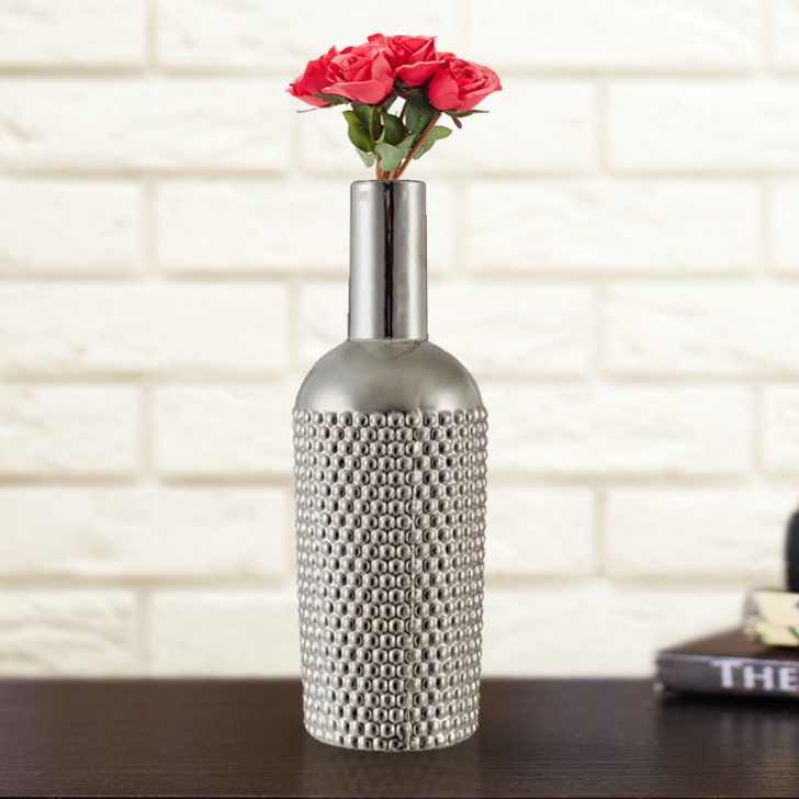 Buy Luna Bottle Vase 35cm Silver Online In India Li889va52aqlhtfur