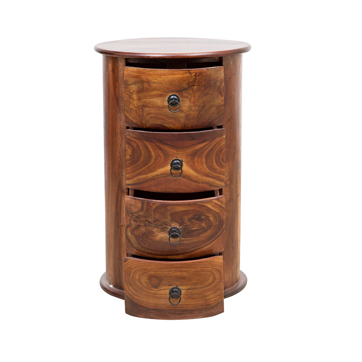 Flint Four Drawers Solidwood End Table in Honey Colour,Chest of Drawers
