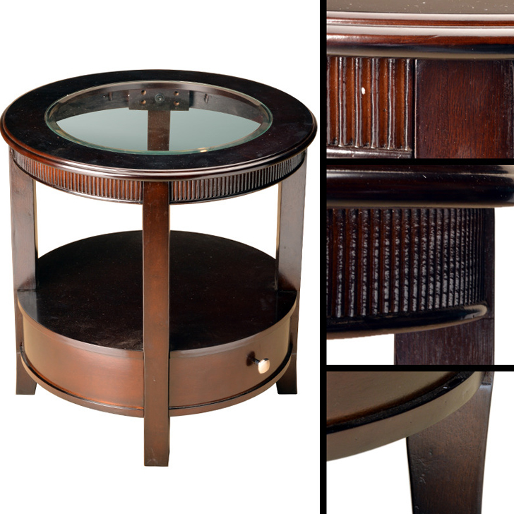 Zina Solid Wood Side Table Brown,Side Tables