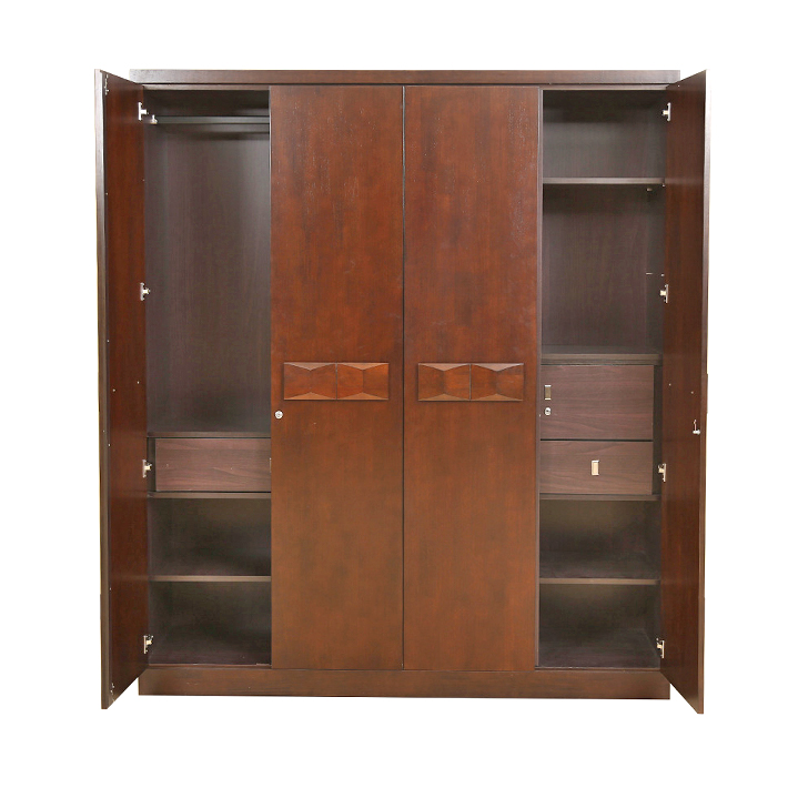 Amelia Solidwood Four Door Wardrobe in Brown Colour,All Wardrobes