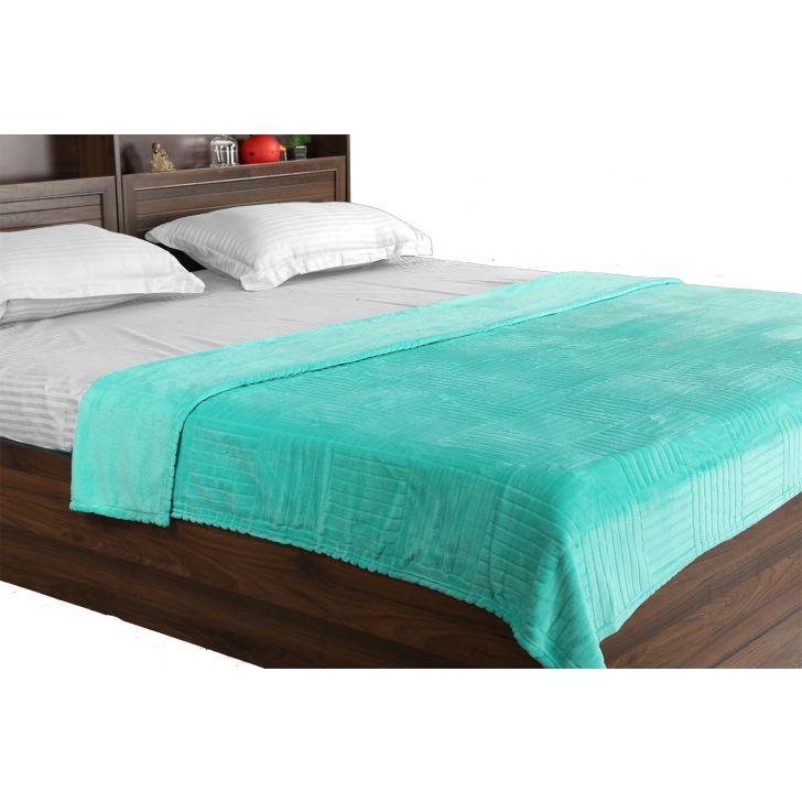 Fleece Blanket 160X220 Checks Green,Quilts/Blankets