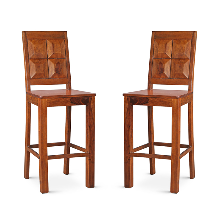 Woodrow Bar Chair Set Of 2 Honey,Chairs
