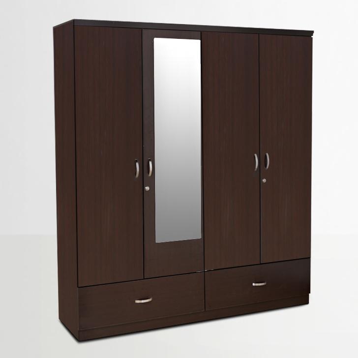 Buy utsav four door wardrobe with mirror in wenge finish for Bedroom cabinet designs india