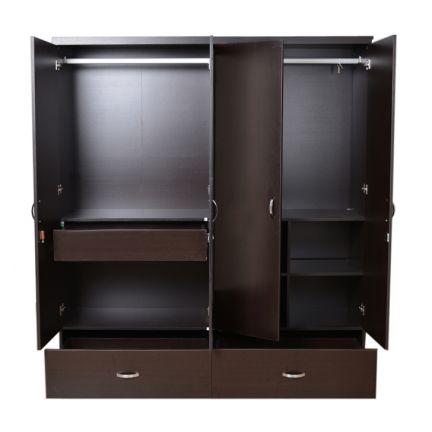 Buy utsav four door wardrobe with mirror wenge online in for Bedroom cupboard designs with mirror