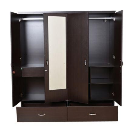 Buy utsav four door wardrobe with mirror wenge online in for 4 door wardrobe interior designs
