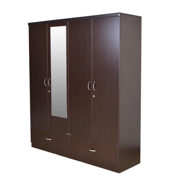Utsav Four Door Wardrobe With Mirror Wenge,Bedroom Furniture