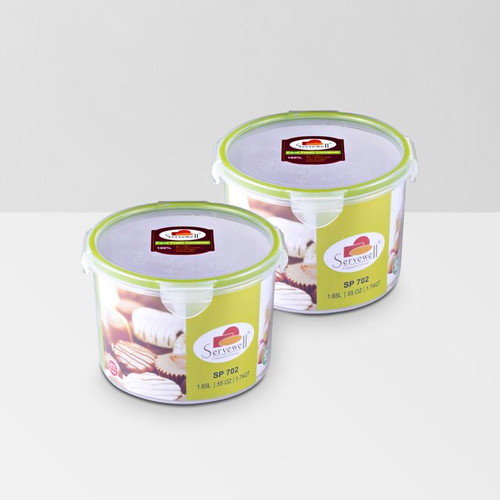 Servewell Round Food Fresh Container 1650 ml 2 Pcs,Lock Storage
