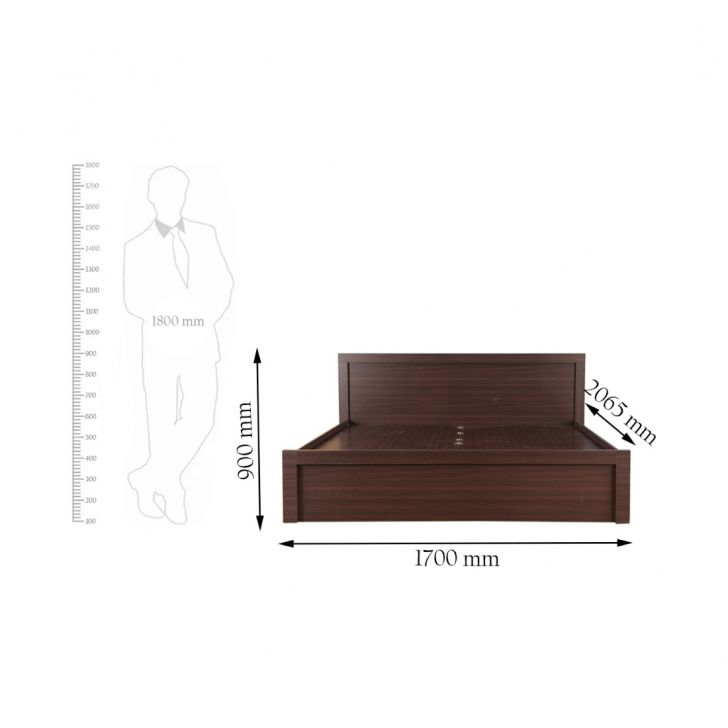 Dazzle Queen Bed with Box Storage in Walnut Finish (Without base plank),Flash Sale