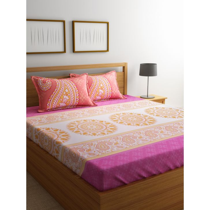 Portico Lavender Bedsheet Multicolour,Double Bed Sheets