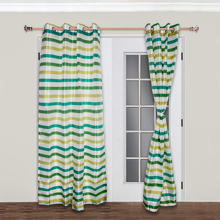 Living Essence Miranda Stripes Polyester Door Curtain Green,Curtains