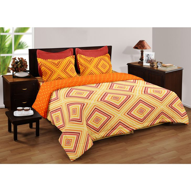 Living Essence Three Pc Double Bedsheet Gold/Multi,Double Bed Sheets
