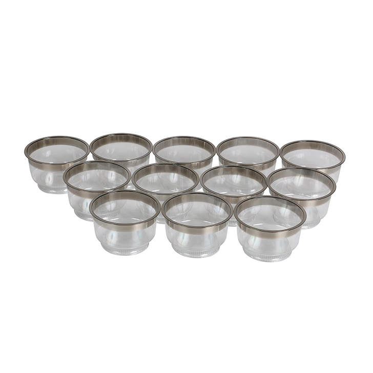Living Essence Icecream Bowl Silver Rim 12 Pcs,Housekeeping