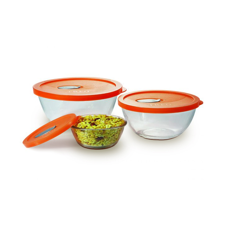 Treo Celebration Glass Mixing Bowl Set Assorted 3 Pcs,Containers