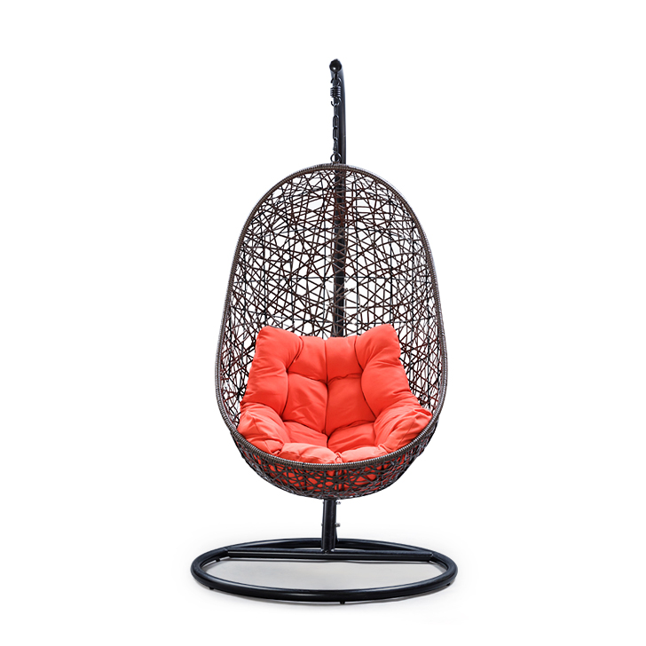 Begonia Swing with Stand & Orange Cushion in Brown Frame,Swings