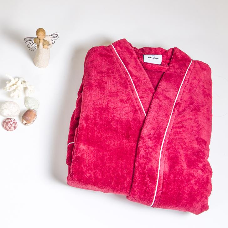 Spaces Enrobe Bathrobe Deep Pink,Bath Robes