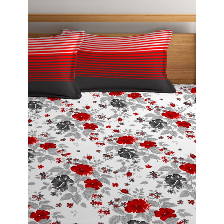 Double Bedsheet Tangy Orange White,Double Bed Sheets