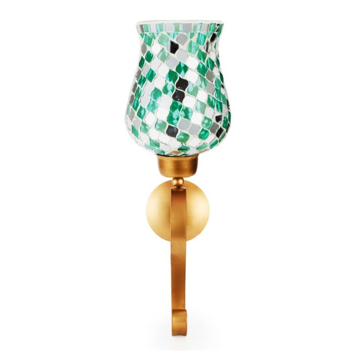Ahana Mosaic Window Stand Candle Holder Teal,Candle Holders