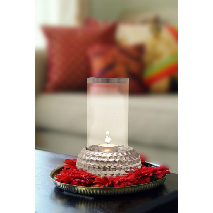 Sterling Hammered Round Base Candle Holder Sil,Candle Holders